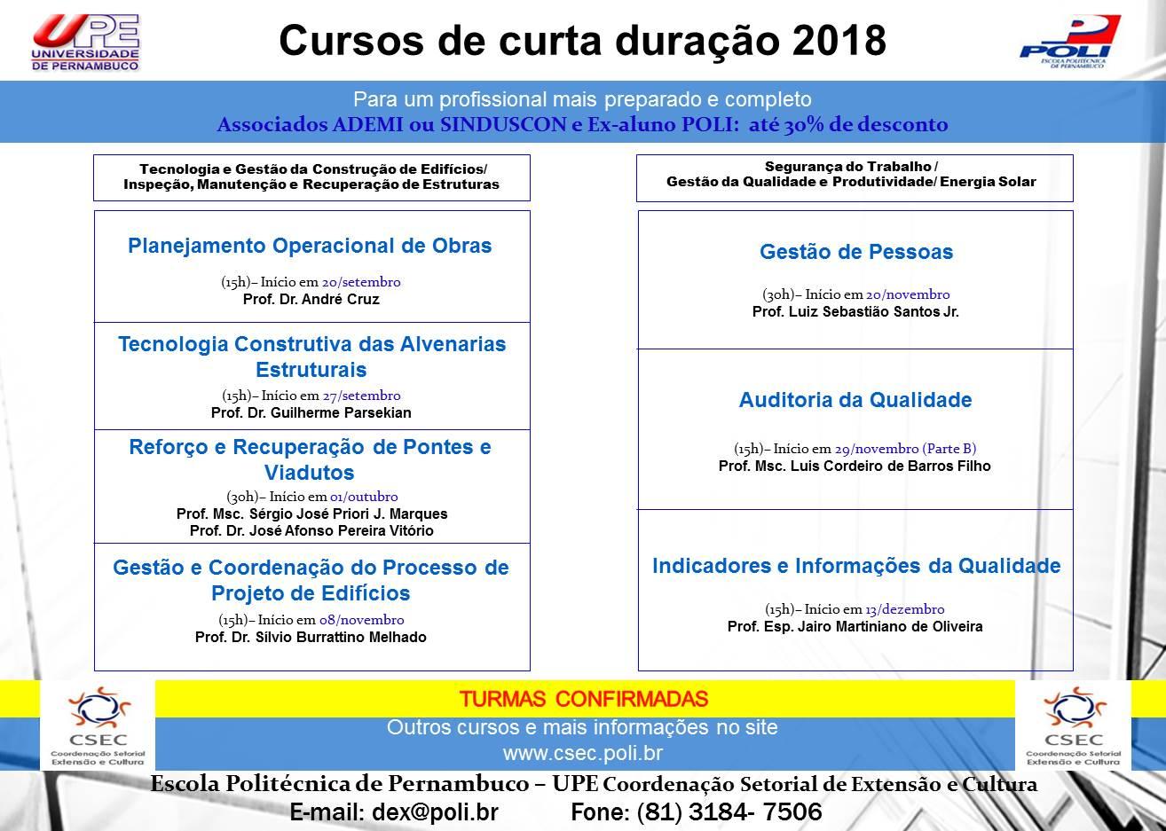 Cursos de Curta Duração 2018 – Vagas Abertas!
