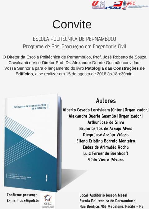 Lançamento do livro Patologia das Construções de Edifícios