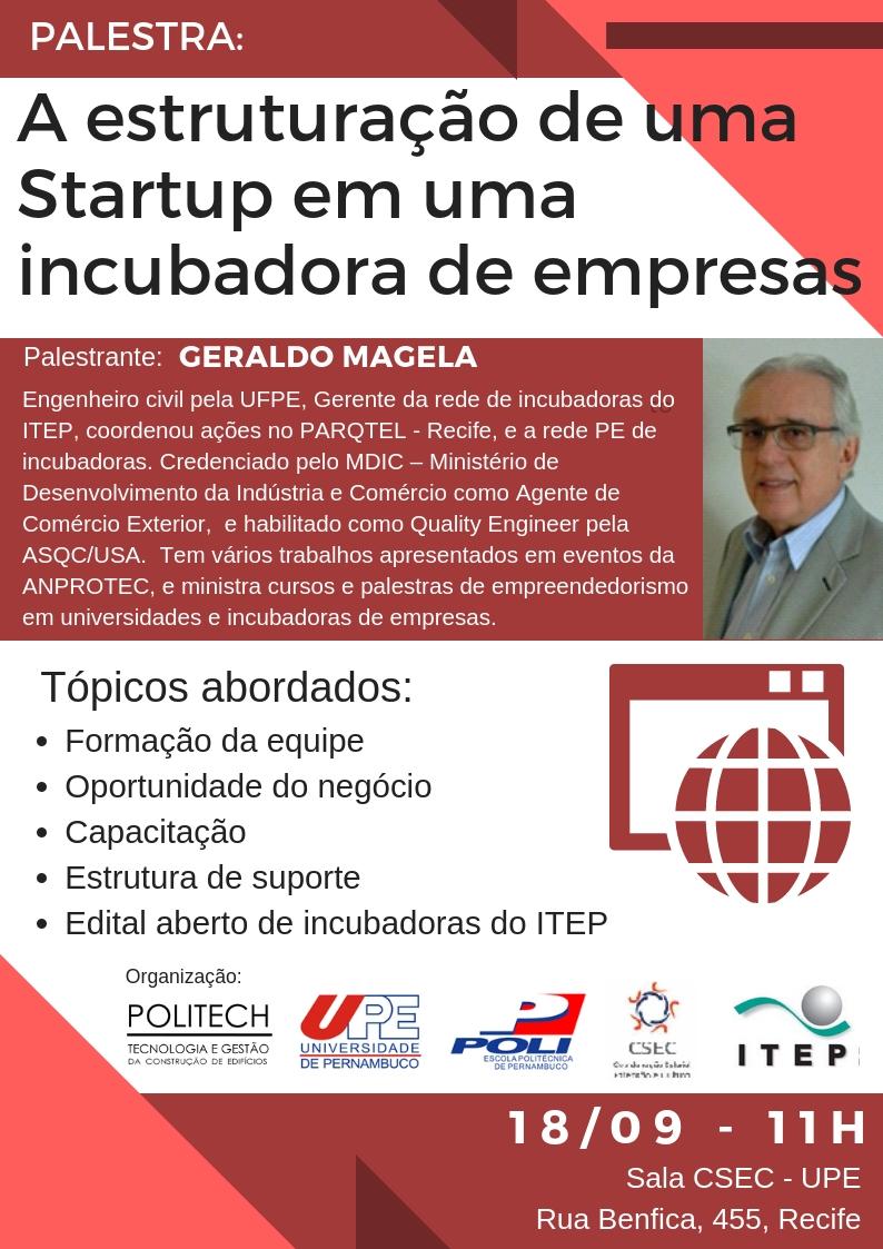 Palestra sobre Estruturação de Startups – Geraldo Magela/ITEP
